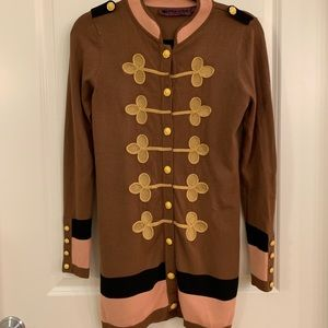 Brown and gold embroidered sweater dress